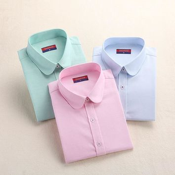 Women Blouse Fashion Women Oxford Shirt Slim Long Sleeved Blouse Turn-Down Collar Simple Solid Color Twill Spring&
