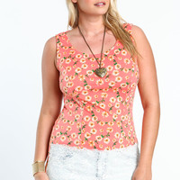 Plus Size Floral Knit Tank Top