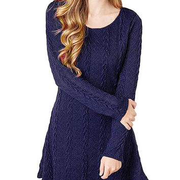 Women's Crewneck Cable Kitted Pullover Sweater Dress