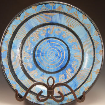 stoneware ceramic bowl, sgraffito carved, mandala pattern, blue, green, wheel thrown