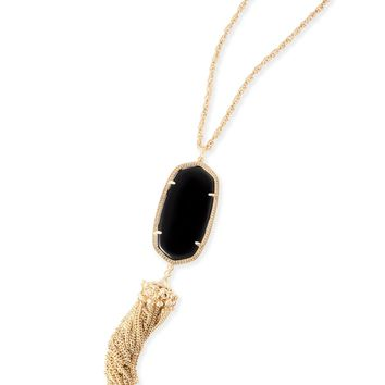 Kendra Scott Rayne Black and Gold Necklace with Tassel