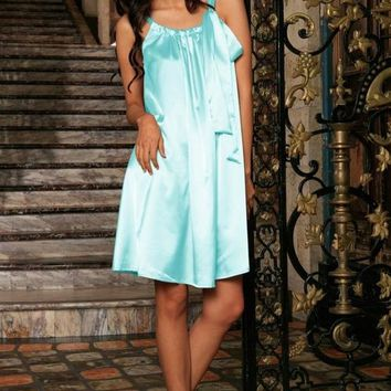 Light Blue Charmeuse Halter Swing Dress
