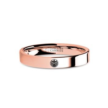 Marvel Agents of SHIELD Eagle Engraved Rose Gold Tungsten Ring