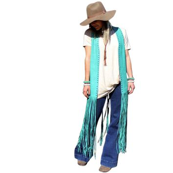 Texarkana Turquoise Studded Duster Fringe Vest by Crazy Train
