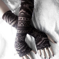 Rusted Ruin Arm Warmers - Dark Brown w/ Tan Aztec Tribal - Yoga Gothic Unisex Hooping Bellydance Vampire Cycling Victorian Mori Girl Goth
