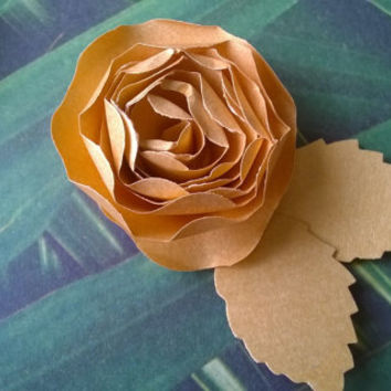 Gold Dahlia boutonniere metallic rose 50th wedding anniversary groomsman pin back groom rolled paper flower lapel brooch bridal party