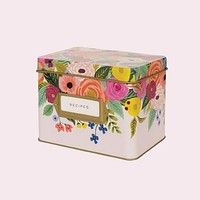 Juliet Rose Tin Recipe Box