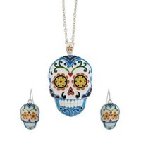 Silver Tone Day Of The Dead Sugar Skull Necklace Earrings Set