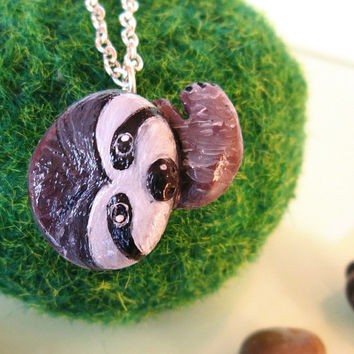 Sloth necklace polymer clay animal torem by FlowerLandShop on Etsy