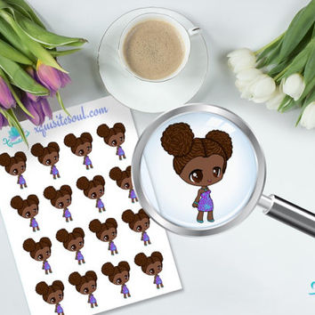 MiniMe Sisi Black Girl Erin Condren Vertical Planner Sticker/ Kawaii Reminder Sticker Set/ ECLP Cute Sticker Sheet/ Cute Planner Accessories