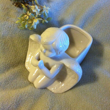Angel Trinket Dish Vintage White Ceramic Angel Jewelry Container Angel Lovers Ring Box Angel Planter Soap Dish Victorian Angel Decor Cherub