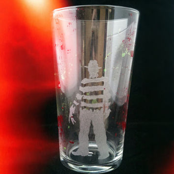 A Nightmare on Elm Street Freddy Krueger Inspired Hand Engraved / Hand Painted Pint Glass
