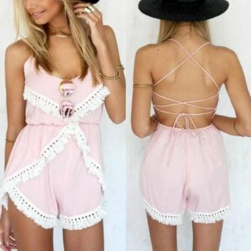 Lace Strap V-Neck Backless Romper jumpsuit