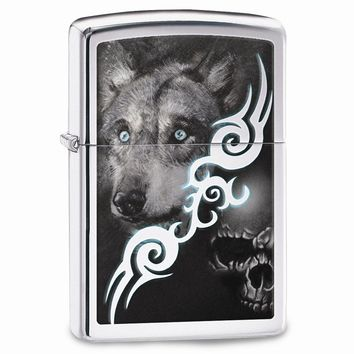 Zippo Wolf With Skull High Polish Chrome Lighter