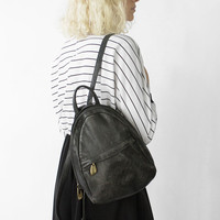 Vintage 90s Black Pebbled Leather Small Rounded Backpack