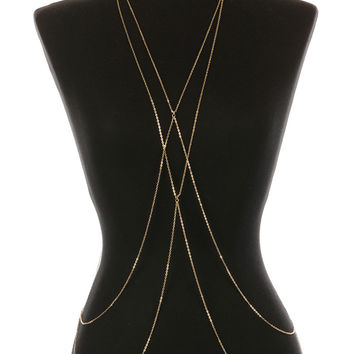 """Copy of Gold Body Chain with a Double Bar Metal Link 32"""" Long"""