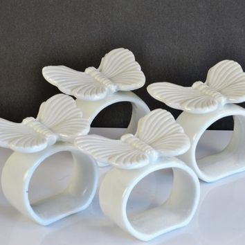 Butterfly Napkin Rings White Bone China Original Box Vintage Table Setting Decor Wedding Garden Party