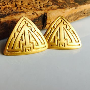 A.J.C. Vintage Earrings, Triangular Earrings, Tribal Earrings, Etched Earrings, Post Earrings, 80's Earrings, 1980's Earrings, Big Earrings