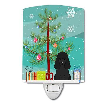 Merry Christmas Tree Poodle Black Ceramic Night Light BB4196CNL