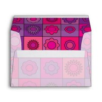 Pink and Purple Flower Pattern Envelope