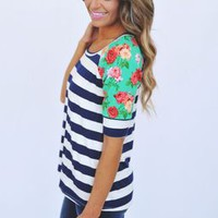 Striped Floral Sleeve Top- Navy