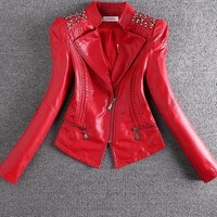 Women Vintage Rivet Faux Leather Fashion Jacket