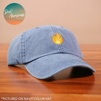 Emoji Fire Dad Hat, Funny Best Friend Gift, Boyfriend Baseball Cap, Fire Dad Cap, Baseball Hats