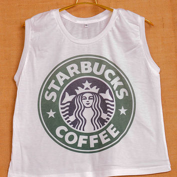 Starbucks Coffee Logo Pop Indie Punk Rock Tattoo Vintage Lady Women T shirt Muscle Crop Tank Top Size S M L