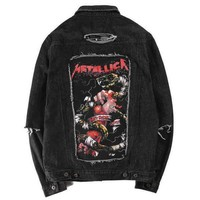 One-nice™ Metallica Fashion Print Ripped Distressed Denim Cardigan Jacket Coat