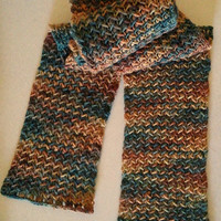 Scarf, Scarflette, Knit, Autumn Colors, Mid Weight, Wool, Gold, Green, Brown