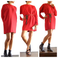 Vintage 80s Red Knit Dress / Wool Shift mini dress / vintage red dress  sweater / Holiday Christmas Dress / stylish vintage red  dress