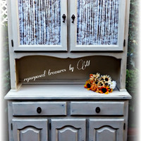 Distressed Vintage upcycled repurposed solid oak hutch! country cottage, french country, shabby chic, rustic,  cottage, handpainted