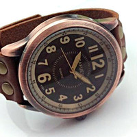 Men watch. Men leather watch.  Watch with leather bracelet.  Bracelet from natural cow leather. Vintage and retro style. Unisex.
