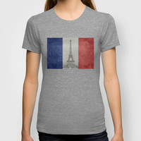 Distressed National Flag of France with Eiffel Tower insert T-shirt by Bruce Stanfield