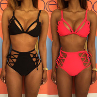 Push up bikini female swimsuit bra set swimwear women steel support gather chest beach bathing suit 2016 bodysuit sport clothing