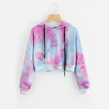 Women Drawstring Hooded Sweatshirt  Autumn Tie Dye Long Sleeve Hoodies