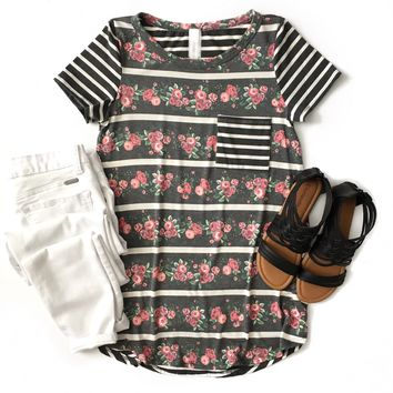 Charcoal Striped Floral Top