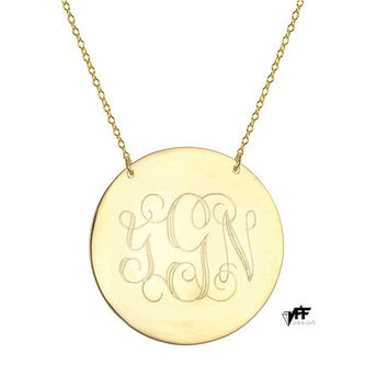 "Engravable Disc necklace - personalize gold monogram necklace 1"" gold plated 18k on .925 silver"