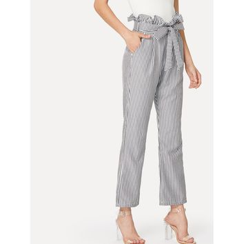 Self Belt Striped Wide Leg Pants With Ruffle Waist