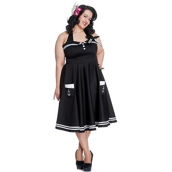 Hell Bunny Women's Plus Size 60's Motley Pinup Vintage Halter Black Sailor Swing Dress