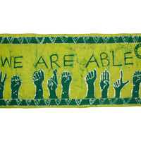 Batik Wallhanging - WE ARE ABLE - African Wax Print - Supporting the Deaf in Ghana