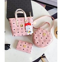 MCM Fashion Women Shopping Leather Handbag Tote Shoulder Bag Crossbody Satchel Purse Wallet Set Three Piece Pink