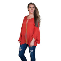 Red Ribbon Patch Long Sleeve Blouse