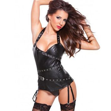 M, XL Sexy Women Vinyl Corset Dress Halter Faux Leather Black Bustier Overbust W841002