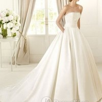 Satin Strapless Ball Gown Deliwedding dresses 2013e Beads And Sequin Bodice 2013 Wedding Dresses at Dresseshop