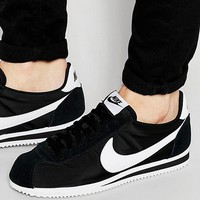Nike Classic Cortez Nylon Trainers In Black 807472-011 at asos.com