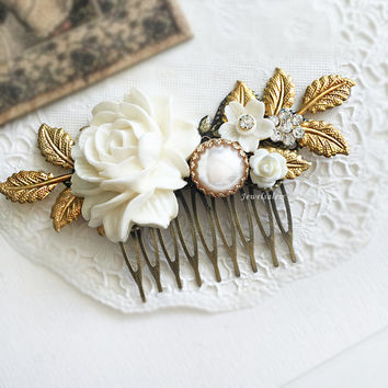 Wedding Hair Comb Bridal Hair Accessories Modern Victorian Headpiece White Flowers Hair Adornment Chintz Glamorous Pearl Hair Pin JW