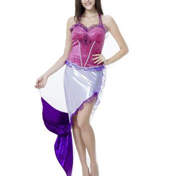 LMFUNT Sexy Purple Mermaid Role Play Dress Halloween Mermaid Princess Sleeveless Cosplay Costumes Fairy Tale Fancy Dress H159265
