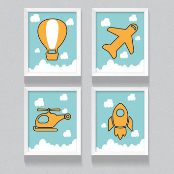 Printable Nursery Art, Kid's bedroom digital download, Set of Four flying air crafts; airplane, helicopter, rocket and hot air balloon