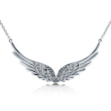 Sterling Silver Cubic Zirconia Wing Angel Wing Pendant Necklace, Earrings, jewelry.